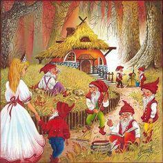 Snow White And The Seven Dwarfs Print By Anna Ewa Miarczynska