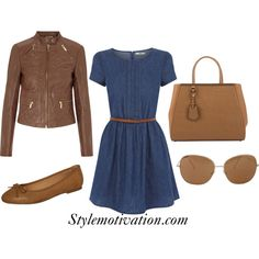 A casual navy blue dress matched with a beige jacket and matching accessories. A casual navy blue dress matched with a beige jacket and matching accessories. Casual Dresses, Casual Outfits, Cute Outfits, Fashion Outfits, Work Outfits, Fashion Clothes, Dr. Martens, Pullover Mode, Outfit Combinations