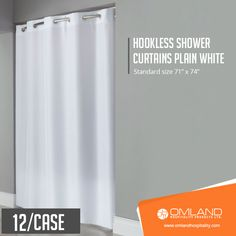 These plain white hookless shower curtains are a breeze to put on and take off and feature a weighted bottom complete with magnets. #showercurtains #bathroom #hotels #lodges #rooms #resorts #motel #inn #hospitality #hostels #spas #accommodation #hoteliers #lodgings #hotelier #guesthouses #occupancy #establishments #accommodations #hotelstyle #hotelstay #designhotels #hotelspa Vinyl Shower Curtains, Shower Curtain Hooks, Hookless Shower Curtain, Small Case, Curtain Patterns, White Vinyl, Bath Accessories, Breeze