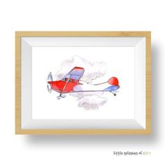 Red and Blue Airplane Printable