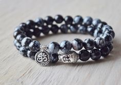 Detoxifying and purity, stackable bracelets, snowflake Obsidian mala beads, yoga jewelry, meditation bracelet, gifts for guys by GemEmbrace on Etsy https://www.etsy.com/listing/235151292/detoxifying-and-purity-stackable