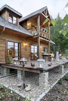 ➤ 61 Most Inspiring Modern Dream House Exterior Design Ideas 55 Rustic Exterior, Exterior Design, Cabin Homes, Log Homes, Cottage Design, House Design, Small Cottages, Small House Plans, House In The Woods
