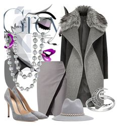 """""""Shades of Grey World"""" by victoria-ronson ❤ liked on Polyvore featuring River Island, WtR London, Gianvito Rossi, Effy Jewelry, YOSUZI and Primrose"""