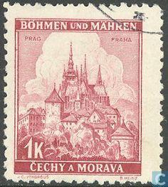 Timbres-poste - Bohême et Moravie - Bâtiments Postage Stamps, Taj Mahal, Vintage World Maps, Movie Posters, Travel, Castles, Stamps, World, Prague