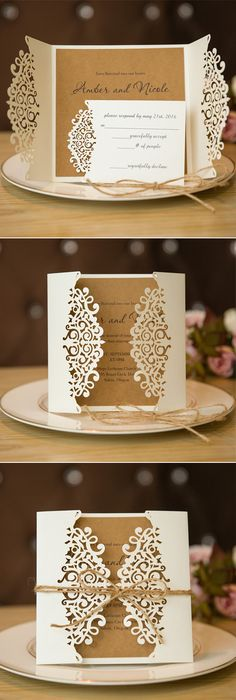 rustic elegance laser cut wedding invitation #stylishweddinginvitations