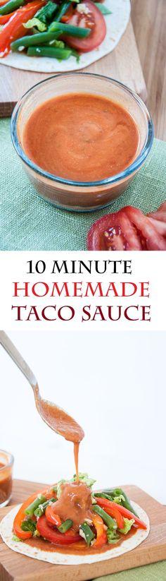 Homemade Taco Sauce – Vegan Family Recipes Homemade Taco Sauce Recipe done in 10 minutes! Homemade Taco Sauce, Taco Sauce Recipes, Homemade Tacos, Mexican Food Recipes, Real Food Recipes, Vegetarian Recipes, Cooking Recipes, Healthy Recipes, Chutneys