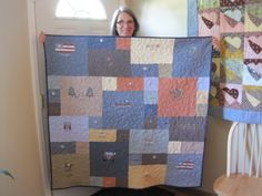 """Charis won the free lap quilt from my Facebook sweepstakes!  Here is her """"Life is Good"""" T-shirt quilt!  Congratulations!"""