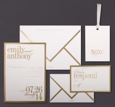 Our Gold Bordered invitation suite is shown here engraved in gold ink.