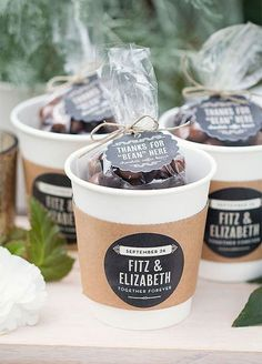 11 Eco-Chic Wedding Favors: Send your guest home with a mug of chocolate covered coffee beans or a jar of espresso beans to enjoy later that night or the next morning. DIY Courtesy of Evermine Weddings