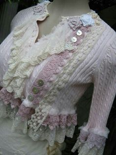 old sweater & vintage lace.....