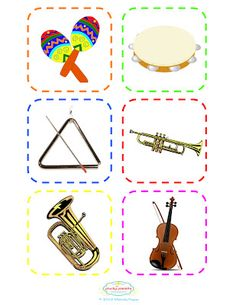 The Plucky Pianista: Musical Instrument Flash Cards - Supplement for Pin the Tail on the Bunny