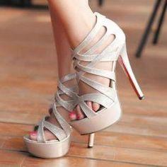 Metallic Silver Strappy Hig.. Zapatos De Moda 2015 910457f9899d