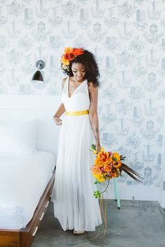 White chiffon custom destination wedding dress in fresh boho style. Sleeveless bodice has sheer V neckline, gold ribbon at waist adds focal point, draped chiffon soft long skirt flows into floor length finishing off the look. White Chiffon, Sheer Chiffon, Chiffon Skirt, Summer Wedding, Dream Wedding, Orange Wedding, Casual Wedding, Bridal Gowns, Wedding Gowns