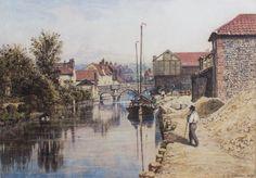 John Joseph Cotman:                      Riverside  Norwich, 1875