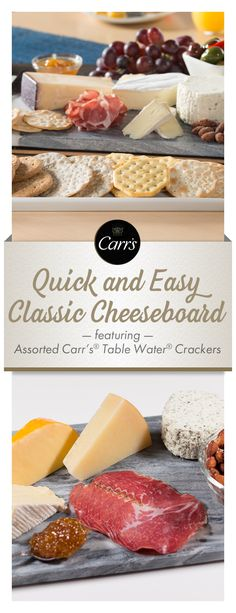 This classic and easy to make cheese board features an assortment of soft and firm cheeses, fig spread, smoked meats and roasted nuts. Pair it with Carr's® Crackers Table Water® Original, Carr's® Table Water®Cracked Pepper, Carr's® Rosemary and Carr's® Whole Wheat.