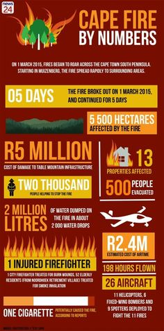 On 1 March fires began to roar across Cape Town's south peninsula. Starting in Muizenberg, the fire spread rapidly to surrounding areas. View an infographic of the Cape Fire by numbers here.