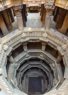 """Thirty years ago on my first of many visits to India, I saw a form of architecture entirely unknown to me. Called a """"stepwell"""" (but known throughout India by many other names including """"vav"""" and """"baoli""""). Architecture Antique, Architecture Cool, Indian Temple, Jain Temple, Temple India, U Bahn, Ahmedabad, Incredible India, Palaces"""