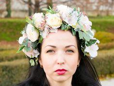 Pink flower wreath peonies, Bridal floral crown, Wedding crown