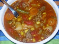 "Hamburger Soup, I have made this for years! I use a real lean ""burger"" such as ground chuck and up. It is a real hardy rainy day or winter supper and the ""left-over"" soup is even tastier. by Prettystuff Crockpot Recipes, Soup Recipes, Dinner Recipes, Cooking Recipes, Recipies, Dinner Ideas, Crockpot Dishes, Chili Recipes, Soups For Kids"