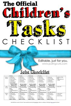 This Children's Daily Task Checklist will remind your child what needs to be done, and to stay on task.  At least, I HOPE it does! #pullingcurls