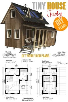 Cutest Small and Tiny Home Plans with Cost to Build Small and tiny Home plans with cost to build - Small Two Story House Plans Judy (model)Small and tiny Home plans with cost to build - Small Two Story House Plans Judy (model) Two Story House Plans, Small House Plans, House Floor Plans, Tiny Home Floor Plans, Two Story House Design, Building Costs, Building A Tiny House, Building Plans, Small Cabin Plans