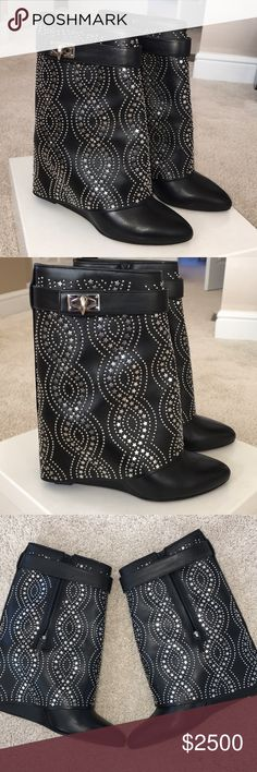 Givenchy shark lock boots GORGEOUS Givenchy boots! I only wore these 3 times. Perfect condition with the exception of the soles. There is a covered wedge heel, probably between 3-4 inches. Please no low ball offers, I paid a lot for these. Givenchy Shoes Heeled Boots