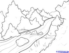 Fun River Coloring Pages for Kids to Inspire The Awareness of Water Conservation - Coloring Pages River Drawing, Forest Drawing, Nature Drawing, Cool Art Drawings, Art Drawings Sketches, Easy Drawings, Drawing Ideas, Drawing Tricks, Drawing Lessons