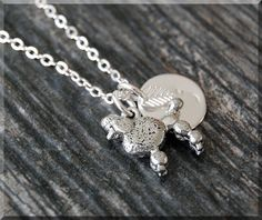 Silver Poodle Charm Necklace Initial Charm by charmingpixiejewelry