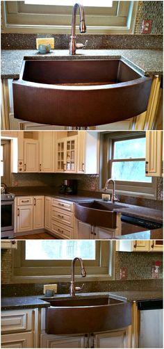 Gorgeous copper kitchen sink installation   SoLuna copper sink   kitchen farmhouse sink   copper farmhouse sink