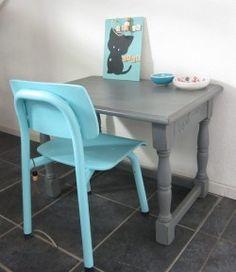kindertafel en stoel antraciet en aqua blauw