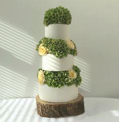 The Cake Lab Bakery, Ranelagh, Dublin, Ireland. Artisan Baking Studio. 3 Tier pale primrose and green hydrangea wedding cake.