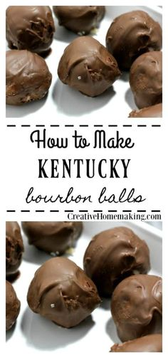 Easy recipe for no bake Kentucky Bourbon Balls. One of my favorite Christmas treats to give as gifts. Easy recipe for no bake Kentucky Bourbon Balls. One of my favorite Christmas holiday treats to give to family and friends. Köstliche Desserts, Delicious Desserts, Dessert Recipes, Recipes For Sweets, Healthy Recipes, Cookie Recipes, Easy Candy Recipes, Healthy Cooking, Healthy Snacks