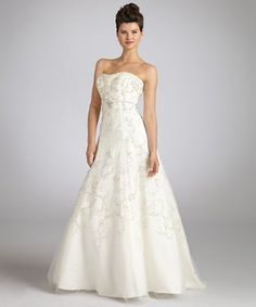Christina Wu:  ivory satin strapless beaded floral lace wedding gown  $995.00