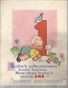 birthday card 1st birthday Vintage Birthday Cards, Vintage Cards, Birthday Images, Birthday Quotes, Baby Play, Vintage Advertisements, Art For Kids, Postcards, Happy Birthday