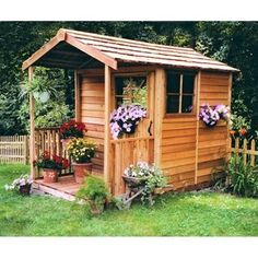 This a cute little She Shed, garden shed or attractive extra yard storage 6 x 12 ft. Gardeners Delight Potting Shed : Patio, Lawn & Garden (affiliate link) Shed Office, Backyard Office, Tiny Office, Build A Playhouse, Cedar Playhouse, Playhouse Kits, Backyard Playhouse, Backyard Sheds, Storage Shed Kits