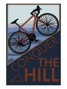 Conquer the Hill - Mountain Bike Premium Poster