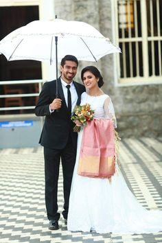 Christian Wedding Dress, Christian Weddings, Christian Bride, Wedding Bride, Wedding Ideas, Saree Gown, Nilla, Wedding Sarees, Wedding Outfits