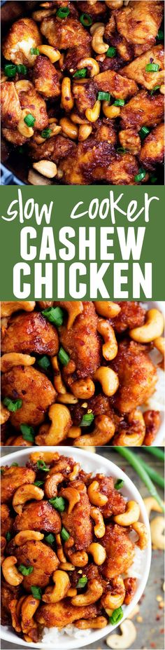 Slow Cooker Cashew Chicken | An amazing slow cooker meal that is way better than takeout!  The chicken is breaded to perfection and the sauce is full of flavor!  The cashews hidden throughout are the best part!