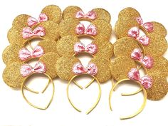 Lot of 12 Minnie Mouse Ears Gold Pink Shimmer Headband Sequin Headband Birthday by DreamsareMagic on Etsy Minnie Mouse Headband, Diy Disney Ears, Mickey Mouse Ears Headband, Mickey Ears, Mickey Mouse Birthday, Minnie Mouse Party, Disneyland Ears, Ear Headbands, Headband Baby