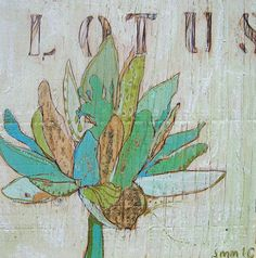 Lotus Teal Canvas Print by Jennifer Mercede by jennifermercede, $139.00