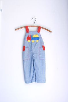 vintage kids overalls dump truck 2t by fuzzymama on Etsy