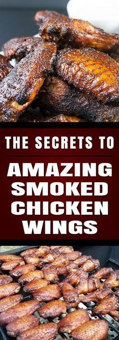 SMOKER -- Amazing Smoked Chicken Wings - The Secrets to making amazingly delicious smoked wings with step by step instructions. These will be a smashing success at any kind of get-together. Traeger Recipes, Smoked Meat Recipes, Grilled Chicken Recipes, Chicken Wing Recipes, Grilling Recipes, Grilled Shrimp, Grilled Salmon, Venison Recipes, Rib Recipes