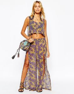 Image 1 of ASOS Feather Print Wide Leg Beach Pant Co-ord
