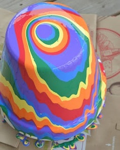 Pour Painting - she has a lot of good tips. This would be fun with different colors, not just rainbow. kid-art