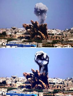 des palestiniens detournent les images de fumees de roquettes israeliennes 1   Des palestiniens détournent les images de fumées de roquettes...