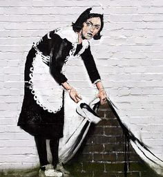 For those of you who don't know, Banksy is an English graffiti artist who's work can be seen all over the world.