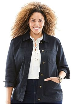 """Product review for Woman Within Women's Plus Size Denim Jacket.  - You'll love the comfortable fit of this plus size stretch denim jacket. Denim is timeless & will never go out of style. The perfect complement to your jeans, and also great skirts…even dresses! 24"""" falls mid-hip front pockets front and back shaping seams and an easy stretch blend g..."""