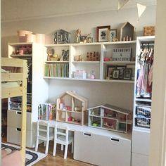 Vi har kommit en bra bit på väg i barnens rum efter flera dagars fix  #barnrum #barnrumsinspo #barnrumsförvaring #inspirationforbarn #pojkrum #flickrum #delarum #syskonrum #våningssäng #stuva #ikeasverige