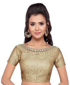 f8f06c176cc501 Golden Brocade Saree Blouse With Stonework Neckline  amp  Short Sleeves  Available at Best Price in
