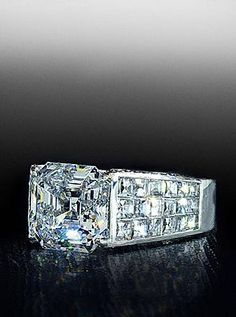 Asscher cut diamond in a tapered blaze mounting. By Bez Ambar. Available at Alson Jewelers.